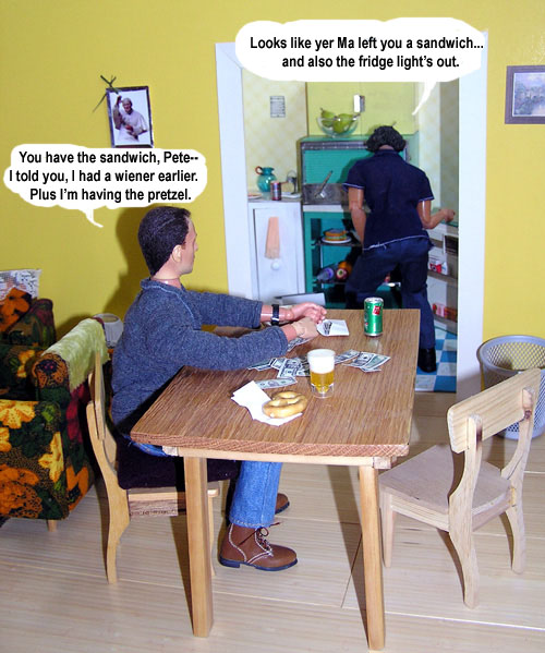 Action figure depicting Jason Isaacs in Brotherhood argues over sandwich