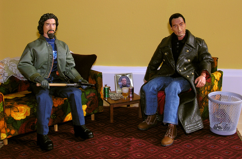 Action figures of Mike Caffee and Pete at Rose's home